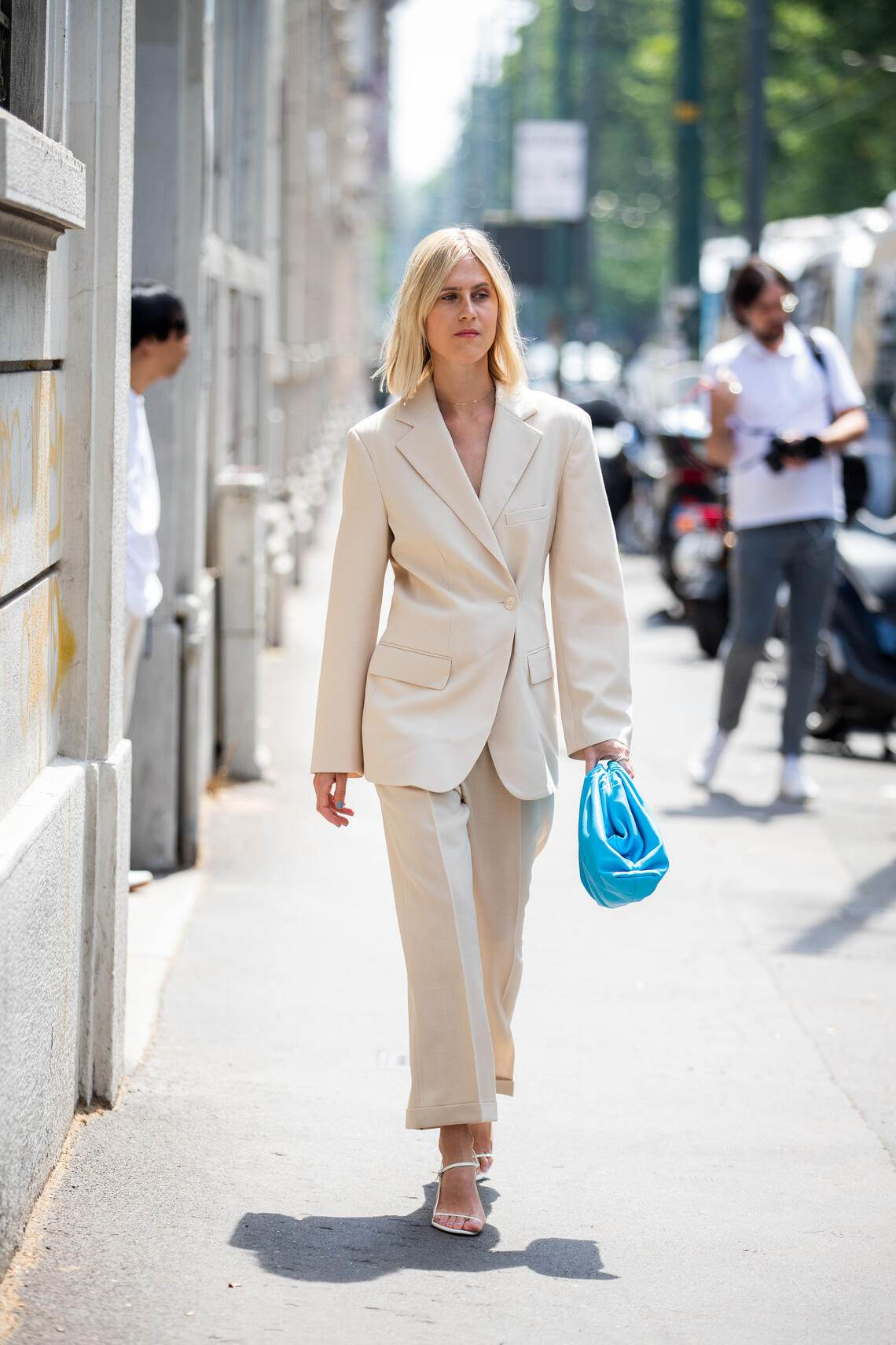 MILAN, ITALY - JUNE 15: Linda Tol is seen wearing beige suit, blue clutch outside Marni during the Milan Men's Fashion Week Spring/Summer 2020 on June 15, 2019 in Milan, Italy. (Photo by Christian Vierig/Getty Images)