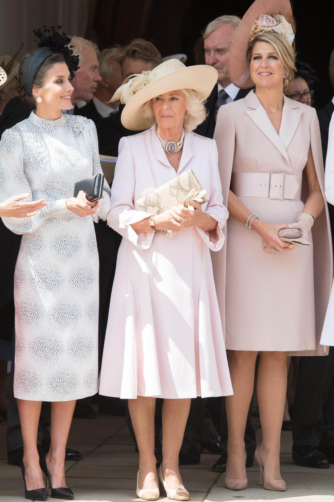 WINDSOR, ENGLAND - JUNE 17:  Queen Letizia of Spain, Camilla, Duchess of Cornwall, Queen Maxima of the Netherlands  attend the Order of the Garter at St George's Chapel on June 17, 2019 in Windsor, England. (Photo by Pool/Samir Hussein/WireImage)