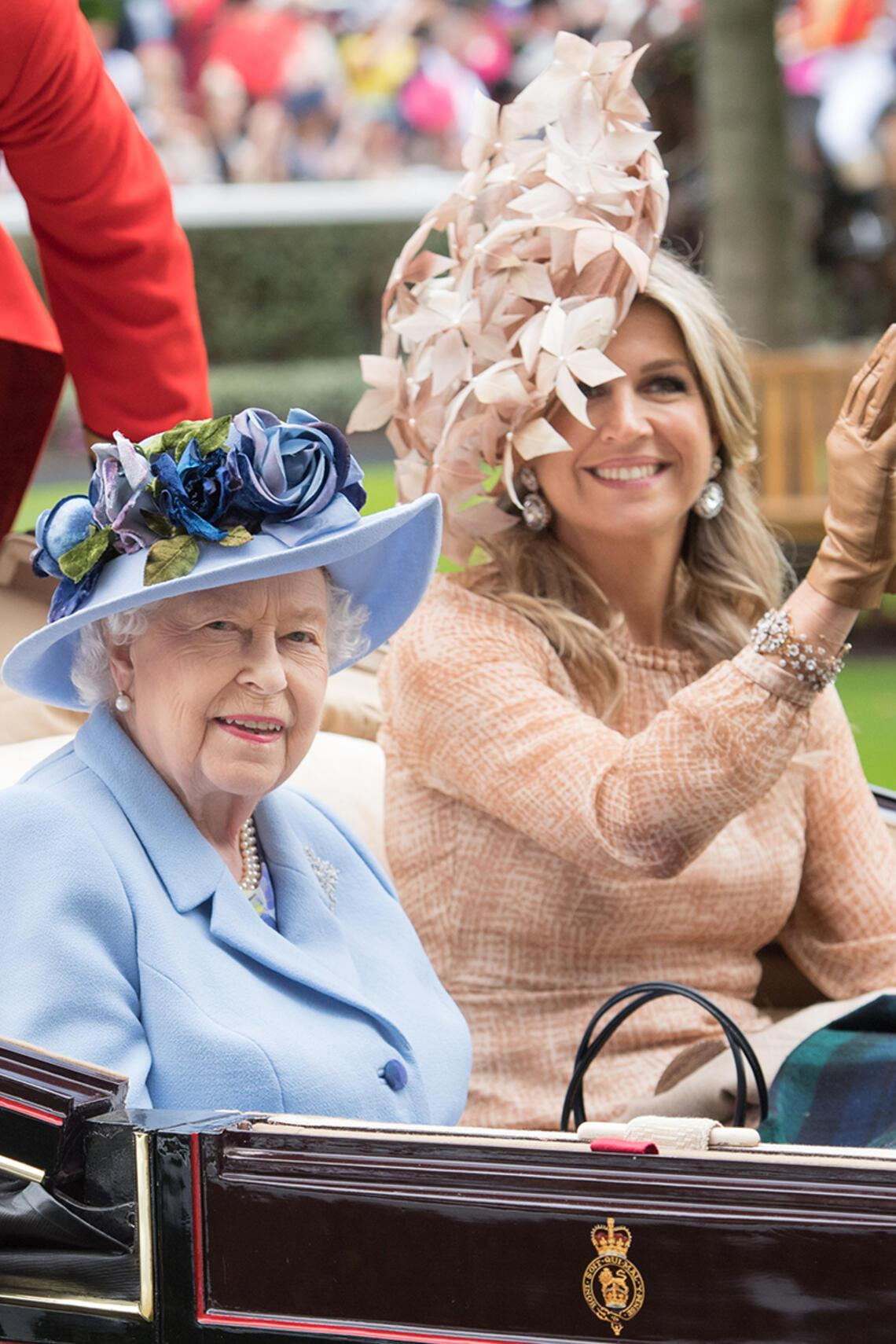 ASCOT, ENGLAND - JUNE 18: Queen Elizabeth II and Queen Maxima of the Netherlands arrive by carriage on day one of Royal Ascot at Ascot Racecourse on June 18, 2019 in Ascot, England. (Photo by Samir Hussein/WireImage)