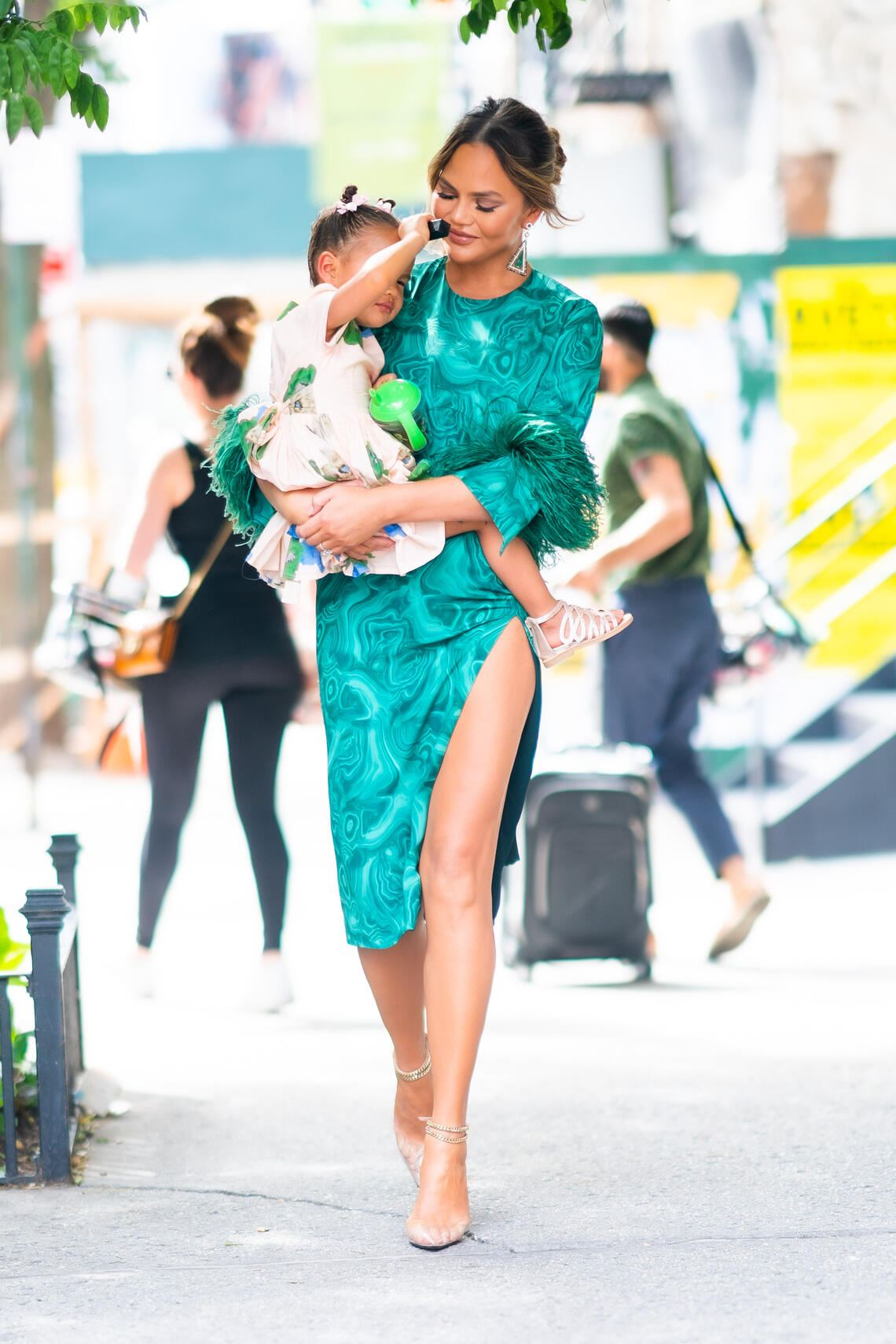 NEW YORK, NEW YORK - JUNE 24: Chrissy Teigen (R) and Luna Stephens are seen in Little Italy on June 24, 2019 in New York City. (Photo by Gotham/GC Images)