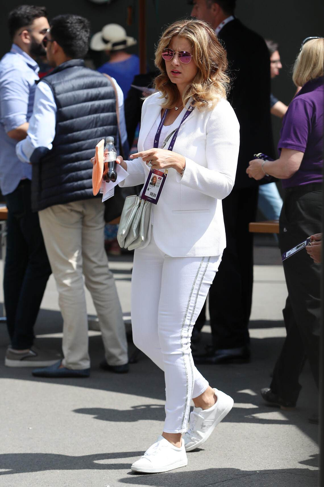 LONDON, ENGLAND - JULY 02: Mirka Federer attends day 2 of the Wimbledon 2019 Tennis Championships at All England Lawn Tennis and Croquet Club on July 02, 2019 in London, England. (Photo by Neil Mockford/GC Images)