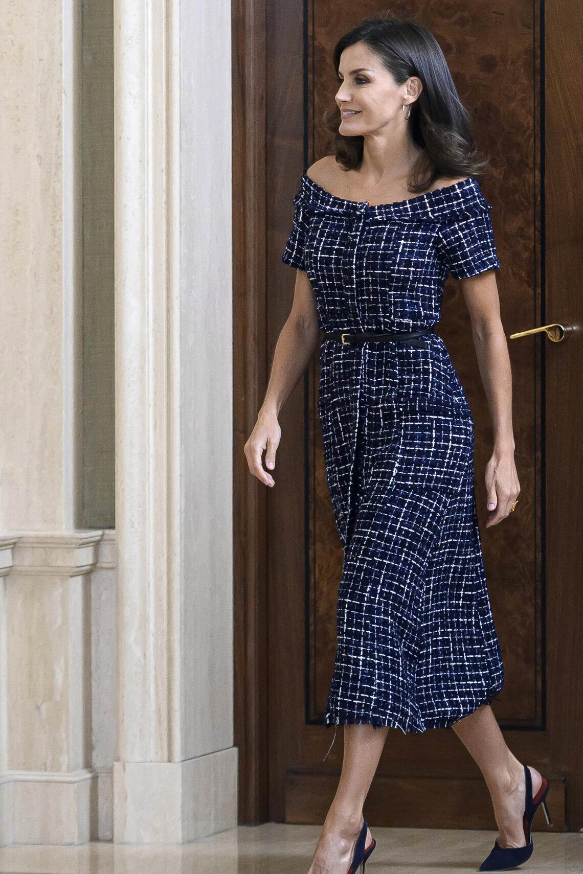 MADRID, SPAIN - JULY 16: Queen Letizia of Spain attends audiences at Zarzuela Palace on July 16, 2019 in Madrid, Spain. (Photo by Samuel de Roman/Getty Images)