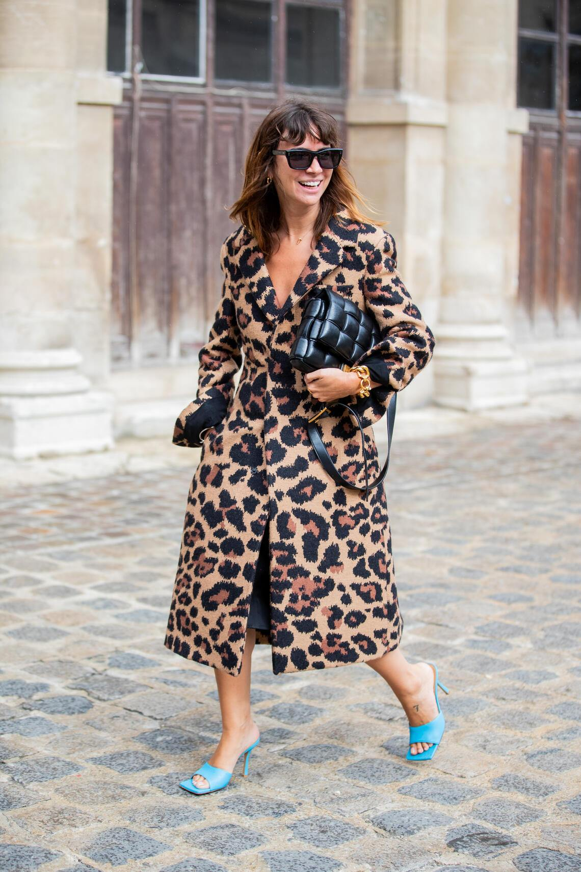 PARIS, FRANCE - SEPTEMBER 29: Natasha Goldenberg is seen wearing coat with animal print, black bag outside Thom Browne during Paris Fashion Week Womenswear Spring Summer 2020 on September 29, 2019 in Paris, France. (Photo by Christian Vierig/Getty Images)