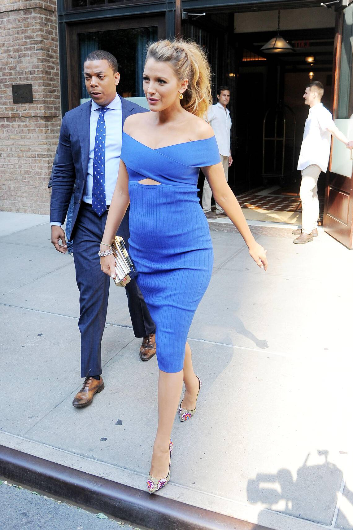 NEW YORK, NY - JUNE 20: Pregnant Blake Lively steps out in a bright blue off-the-shoulder key whole dress on June 20, 2016 in New York, NY. (Photo by Josiah Kamau/BuzzFoto via Getty Images)