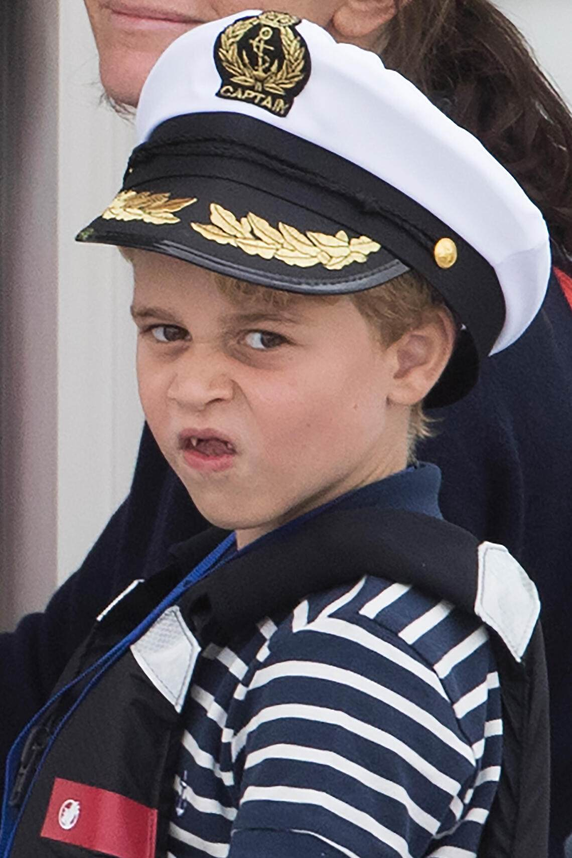 08/08/2019. Cowes, United Kingdom: Prince George watches the Duke and Duchess of Cambridge taking part in The King's Cup sailing regatta in Cowes, Isle of Wight, United Kingdom: (Stephen Lock / i-Images / Polaris) (FOTO:DUKAS/POLARIS)