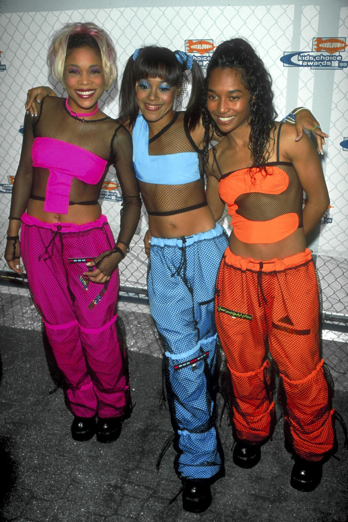 Music group TLC (L-R) Rozonda Chilli Thomas, Lisa Left Eye Lopes & Tionne T-Boz Watkins attending Nickelodeon Kids Choice '99 at UCLA.  (Photo by Mirek Towski/DMI/The LIFE Picture Collection via Getty Images/Getty Images)