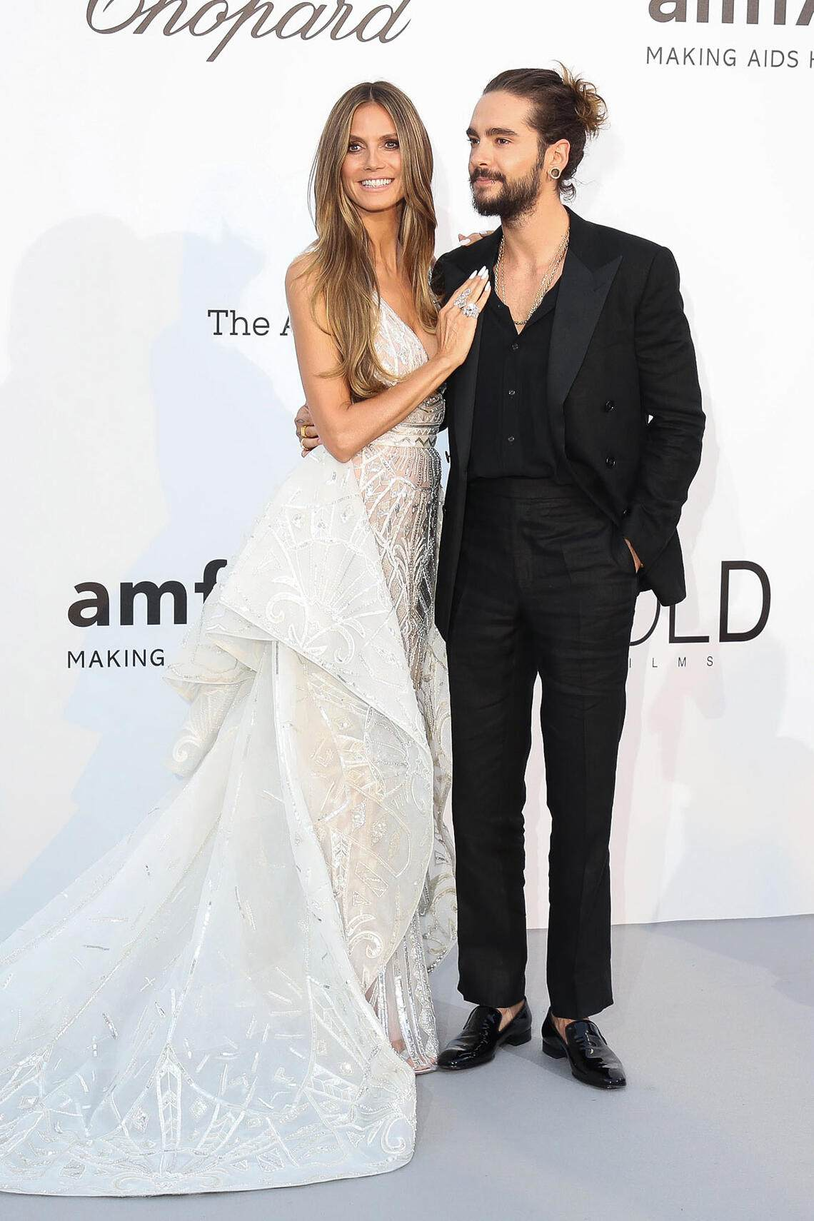 CAP D'ANTIBES, FRANCE - MAY 17: Heidi Klum and Tom Kaulitz arrive at the amfAR Gala Cannes 2018 at Hotel du Cap-Eden-Roc on May 17, 2018 in Cap d'Antibes, France. (Photo by Mike Marsland/WireImage)