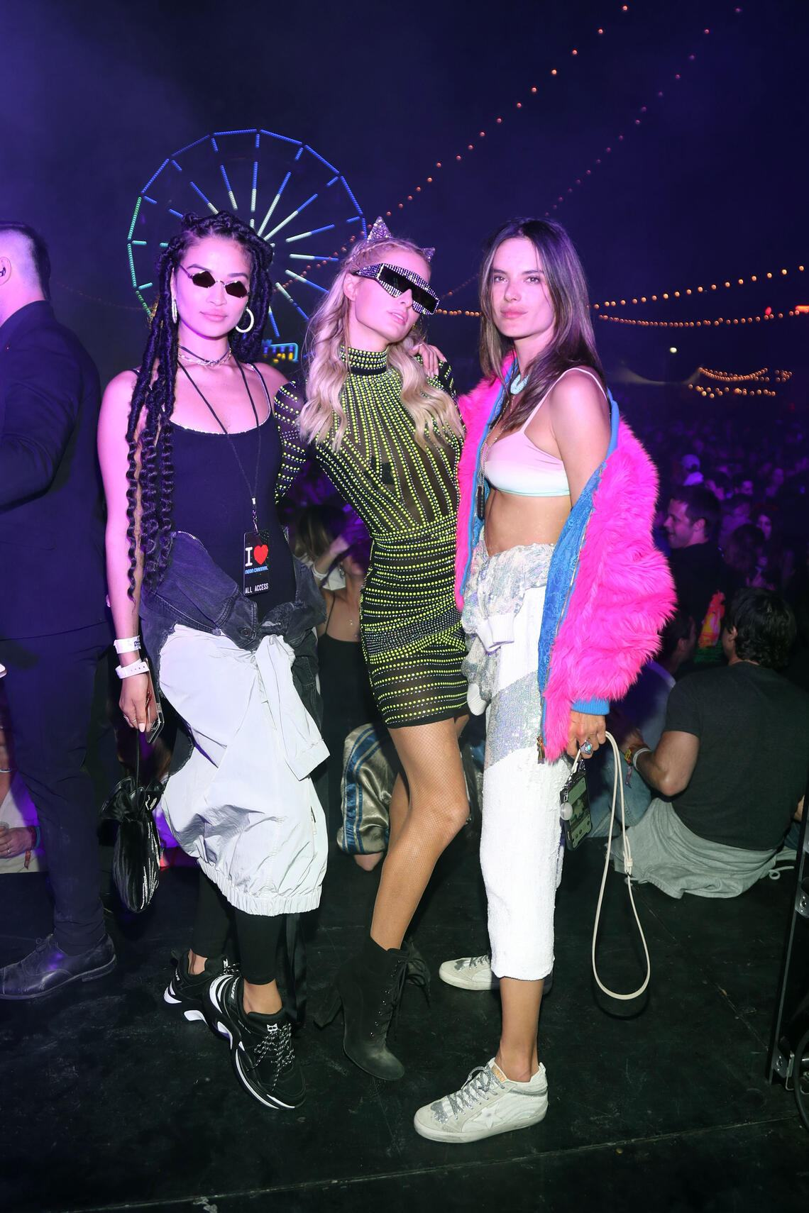 THERMAL, CALIFORNIA - APRIL 13: _____, Paris Hilton and Alessandra Ambrosio attend the Levi's Brand Presents Neon Carnival with Bondi Sands and POKÉMON: Detective Pikachu on April 13, 2019 in Thermal, California. (Photo by Cassidy Sparrow/Getty Images for Neon Carnival)