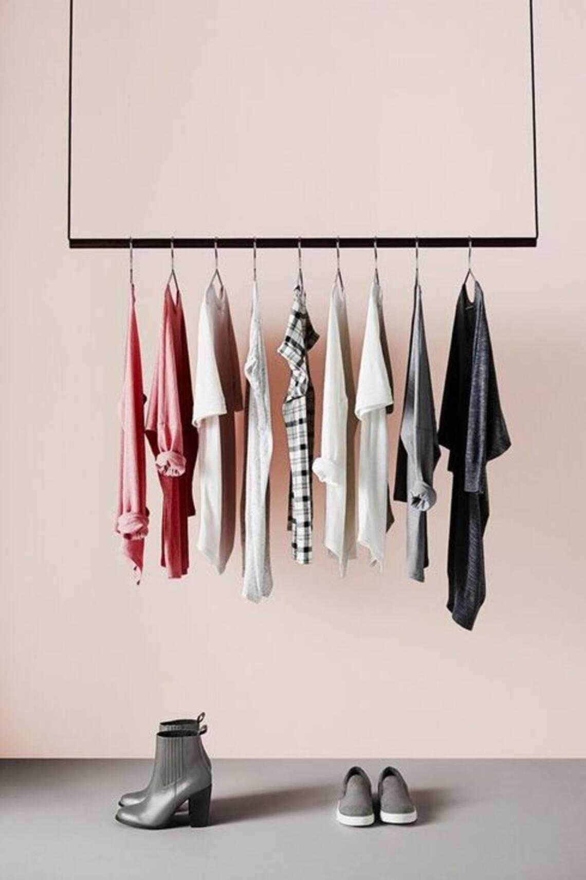 hanging clothing rail