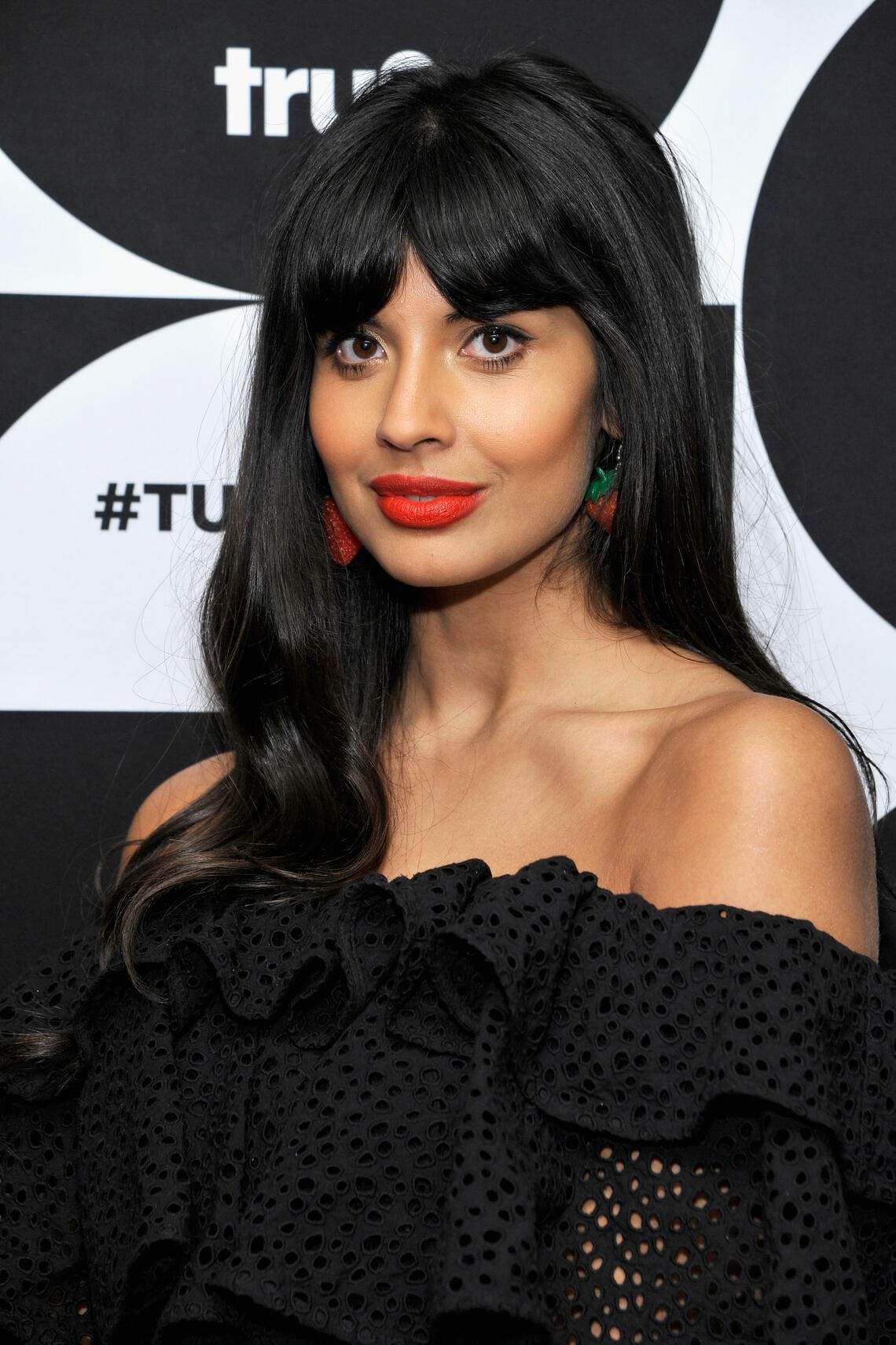 PASADENA, CA - FEBRUARY 11:  Jameela Jamil of 'The Misery Index' poses in the green room during the TCA Turner Winter Press Tour 2019 at The Langham Huntington Hotel and Spa on February 11, 2019 in Pasadena, California. 505702  (Photo by John Sciulli/Getty Images for Turner)