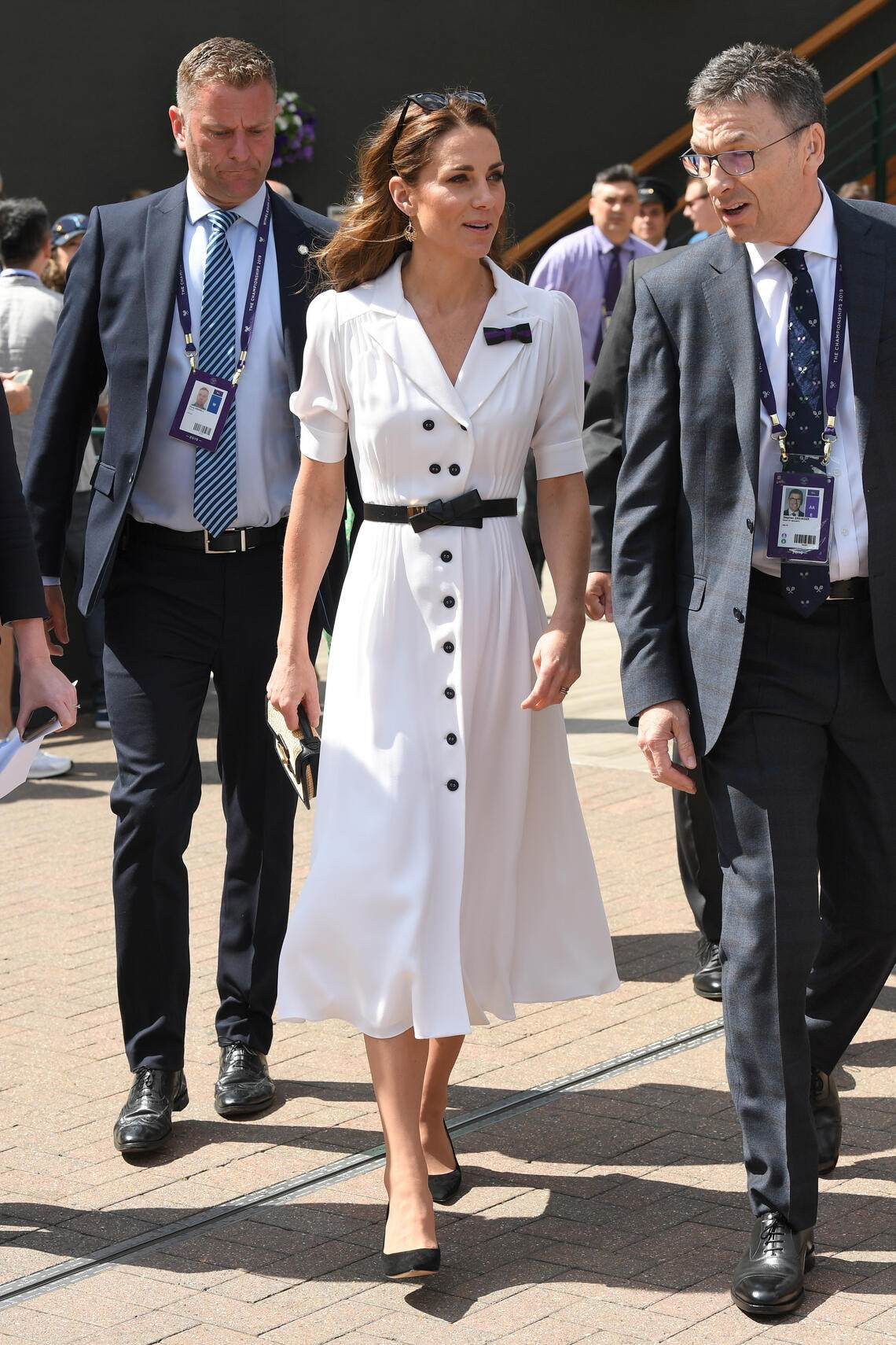 LONDON, ENGLAND - JULY 02: Catherine, Duchess of Cambridge attends day 2 of the Wimbledon Tennis Championships at the All England Lawn Tennis and Croquet Club on July 02, 2019 in London, England. (Photo by Karwai Tang/Getty Images)