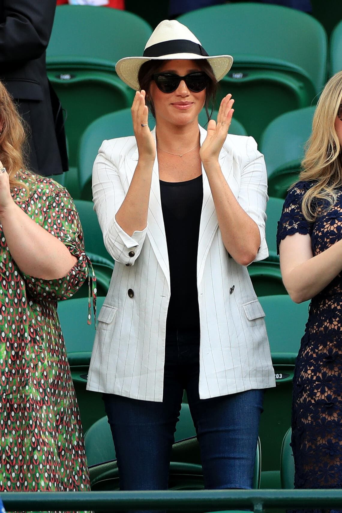 Duchess of Sussex after watching Serena Williams on court one on day four of the Wimbledon Championships at the All England Lawn Tennis and Croquet Club, Wimbledon. (Photo by Mike Egerton/PA Images via Getty Images)