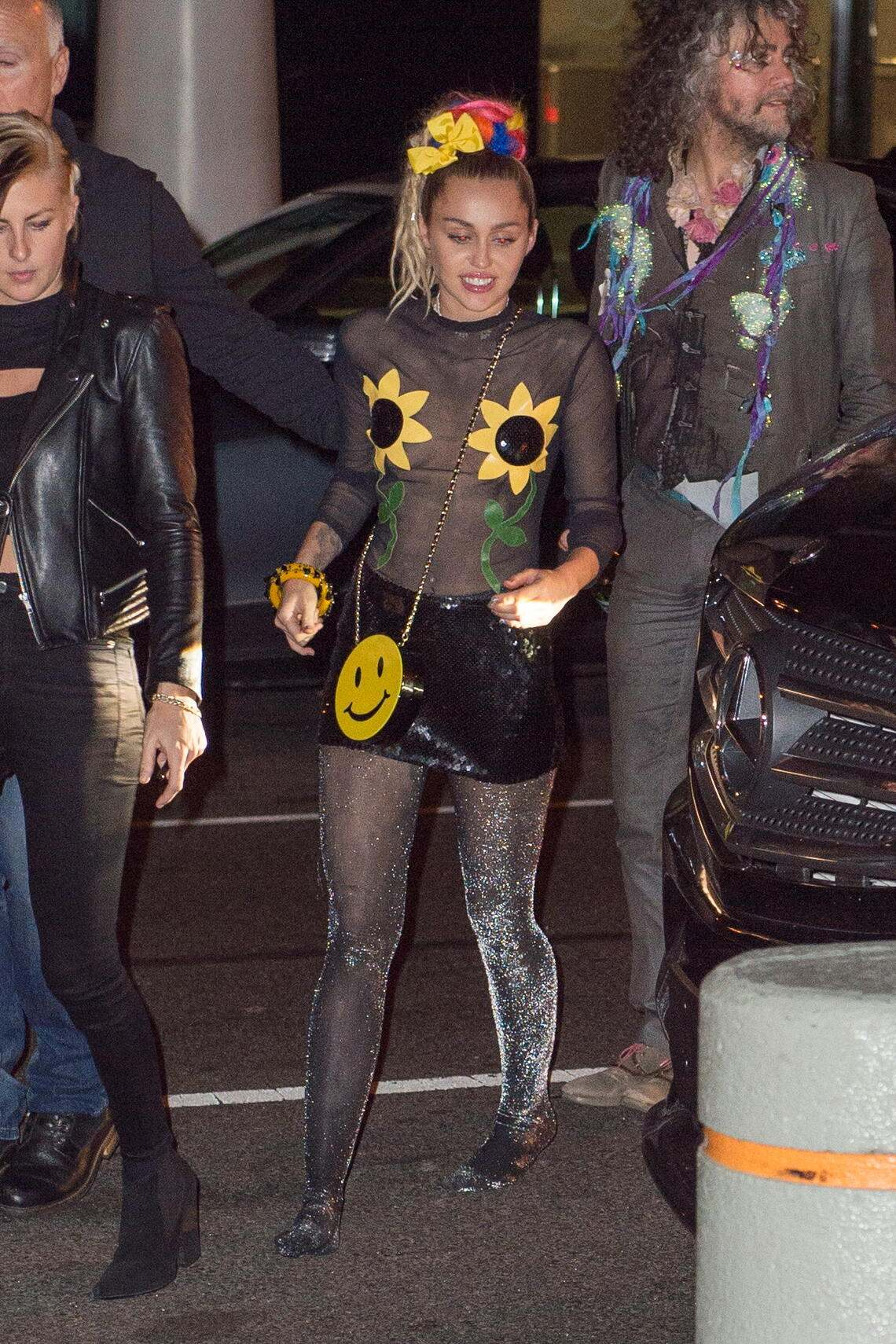 Miley Cyrus parties with friends after the SNL after party at hip after hours spot, Happy Ending in a sheer outfit.<P>Pictured: Miley Cyrus<B>Ref: SPL1140059  041015  </B><BR/>Picture by: @PapCultureNYC / Splash News<BR/></P><P><B>Splash News and Pictures</B><BR/>Los Angeles:	310-821-2666<BR/>New York:	212-619-2666<BR/>London:	870-934-2666<BR/>photodesk@splashnews.com<BR/></P> *** Local Caption *** World Rights