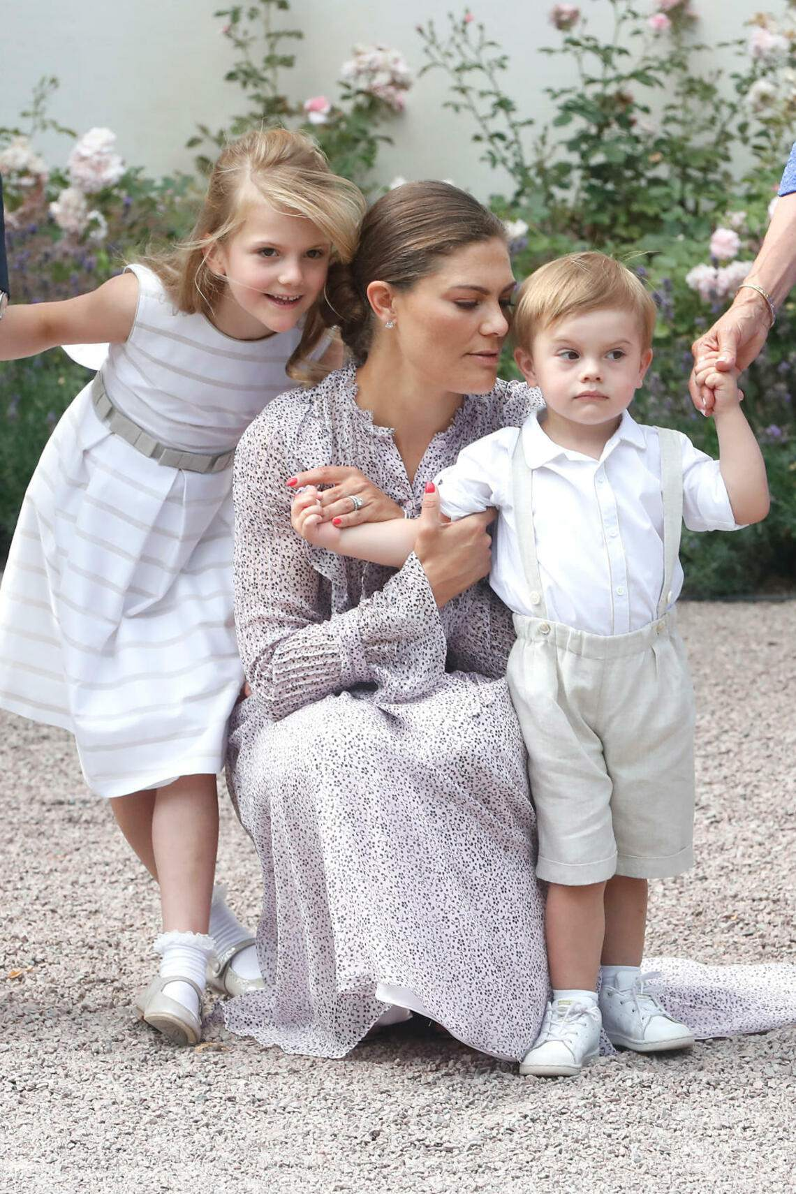 OLAND, SWEDEN - JULY 14: (L-R) Princess Estelle of Sweden, Crown Princess Victoria of Sweden and Prince Oscar of Sweden during the occasion of The Crown Princess Victoria of Sweden's 41st birthday celebrations at Solliden Palace on July 14, 2018 in Oland, Sweden. (Photo by Michael Campanella/WireImage)